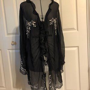 Gorgeous Black Silk Négligée